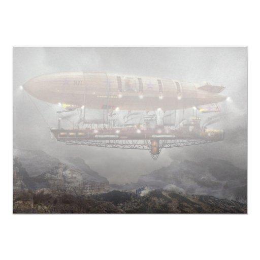 Steampunk - dirigible no rígido - dirigible invitación 12,7 x 17,8 cm