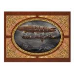 Steampunk - dirigible no rígido - dirigible Maximu Tarjeta Postal