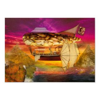 """Steampunk - dirigible no rígido - maravilla eterna invitación 5"""" x 7"""""""