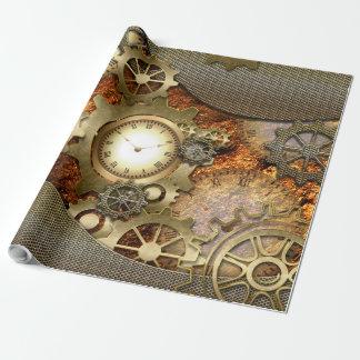 Steampunk, diseño de oro papel de regalo