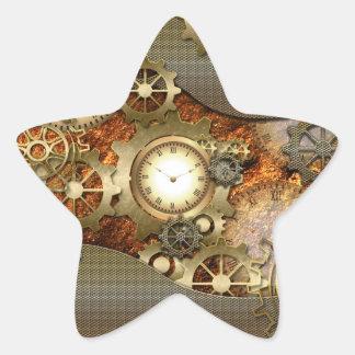 Steampunk, diseño impresionante del steampunk pegatina en forma de estrella