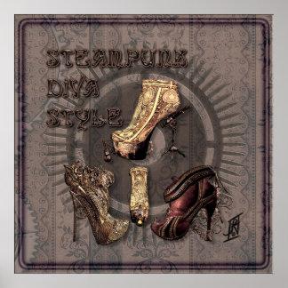 Steampunk Diva Style Print