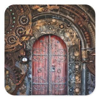 Steampunk Door Pocket Watch  Wedding Stickers