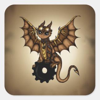 Steampunk Dragon Square Sticker