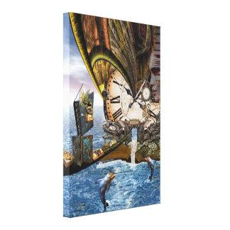 Steampunk dragon story book canvas print