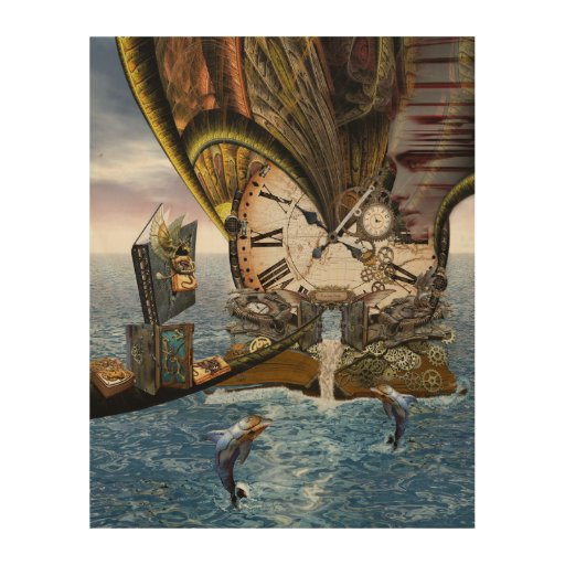 Steampunk dragon story book wood print