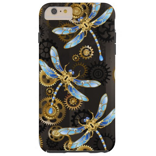 Steampunk Dragonflies on brown striped background Tough iPhone 6 Plus Case