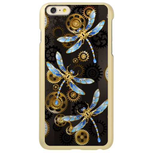 Steampunk Dragonflies on brown striped background Incipio Feather Shine iPhone 6 Plus Case
