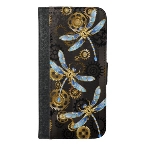 Steampunk Dragonflies on brown striped background iPhone 6/6s Plus Wallet Case