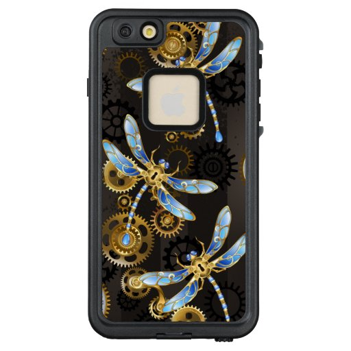 Steampunk Dragonflies on brown striped background LifeProof FRĒ iPhone 6/6s Plus Case