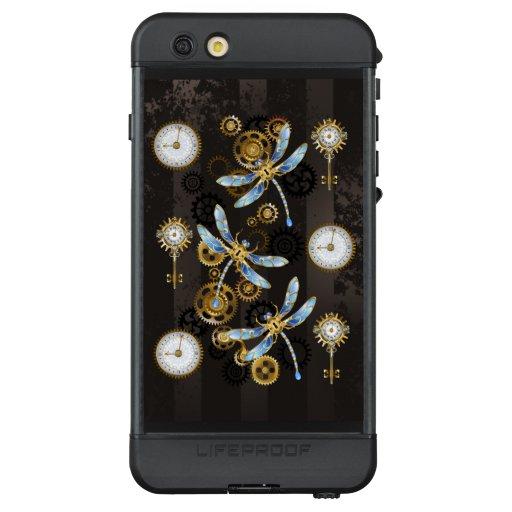 Steampunk Dragonflies on brown striped background LifeProof NÜÜD iPhone 6s Plus Case