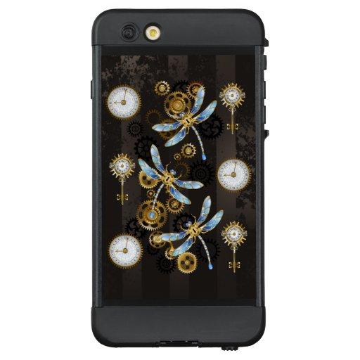 Steampunk Dragonflies on brown striped background LifeProof NÜÜD iPhone 6 Plus Case