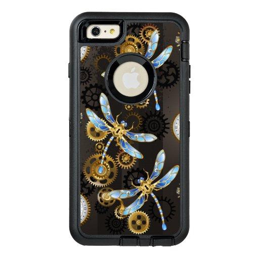 Steampunk Dragonflies on brown striped background OtterBox Defender iPhone Case