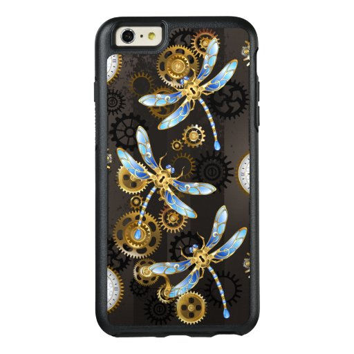 Steampunk Dragonflies on brown striped background OtterBox iPhone 6/6s Plus Case