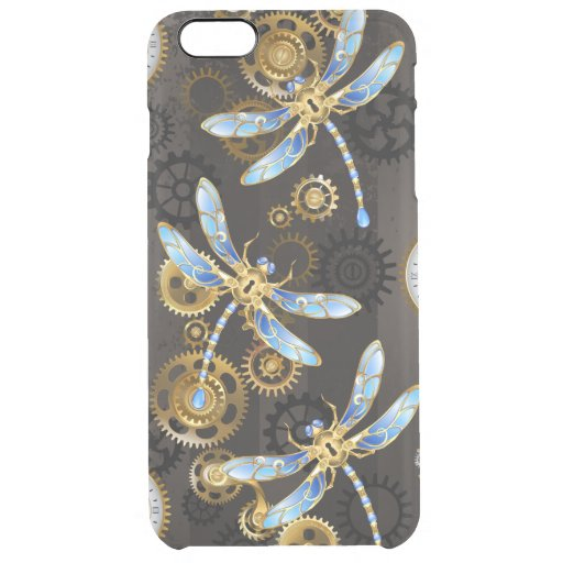 Steampunk Dragonflies on brown striped background Clear iPhone 6 Plus Case