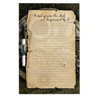 SteamPunk Dry Erase Gears parchment quote board