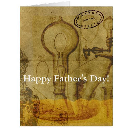 Steampunk Edison Light Bulb Great Father's Day Card