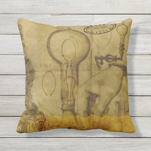 Steampunk Edison Light Bulb Great Father's Day Outdoor Pillow
