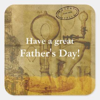 Steampunk Edison Light Bulb Great Father's Day Square Sticker