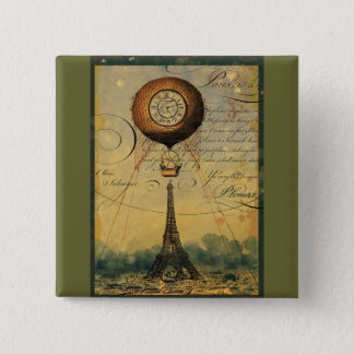 Steampunk Eiffel Tower & Hot Air Balloon Button