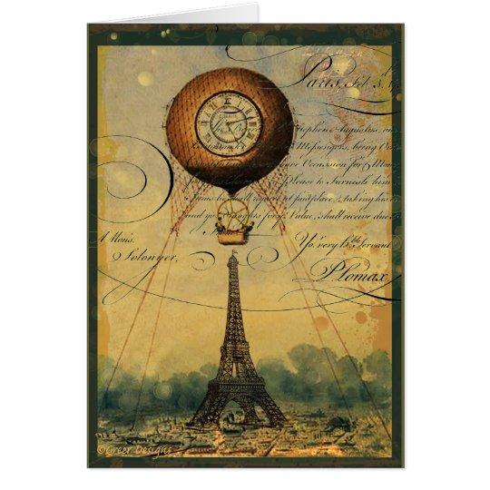 Steampunk Eiffel Tower & Hot Air Balloon Card