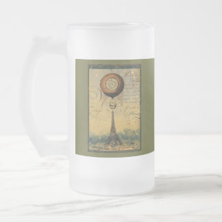 Steampunk Eiffel Tower & Hot Air Balloon Frosted Glass Beer Mug