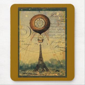 Steampunk Eiffel Tower & Hot Air Balloon Mouse Pad