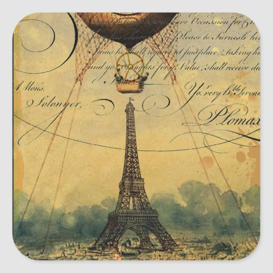 Steampunk Eiffel Tower & Hot Air Balloon Square Sticker