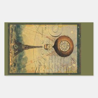 Steampunk Eiffel Tower & Hot Air Balloon Rectangular Sticker