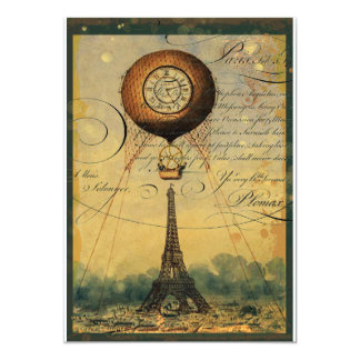 Steampunk Eiffel Tower Invitation Vintage Style