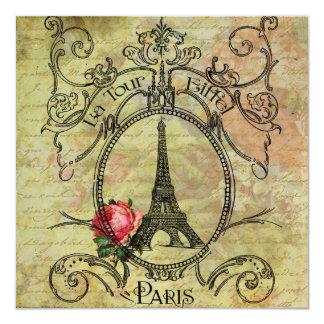 Steampunk Eiffel Tower n Red Rose Card