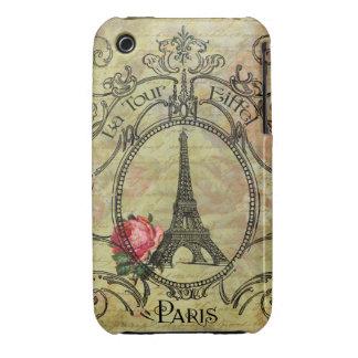 Steampunk Eiffel Tower Paris Red Rose Case-Mate iPhone 3 Case