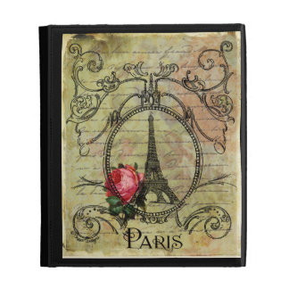 Steampunk Eiffel Tower Red Rose iPad Cases
