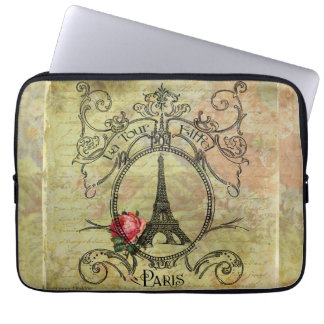 Steampunk Eiffel Tower & Red Rose Laptop Sleeves