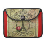 Steampunk Eiffel Tower & Red Rose Sleeves For MacBook Pro