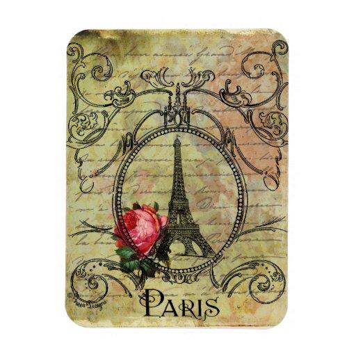 Steampunk Eiffel Tower & Red Rose Rectangular Photo Magnet