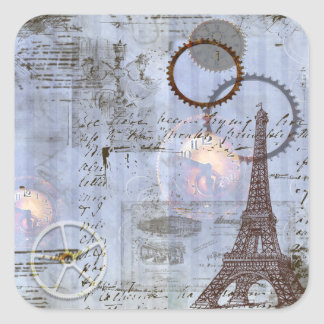 Steampunk Eiffel Tower Tags Stickers