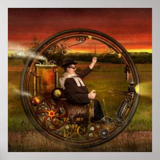 Steampunk - el monowheel del caballero posters