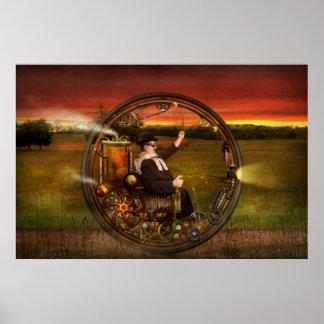 Steampunk - el monowheel del caballero poster