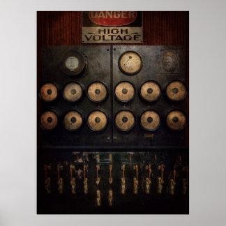 Steampunk - eléctrico - centro del poder póster
