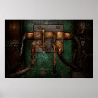 Steampunk - eléctrico - tire del interruptor póster