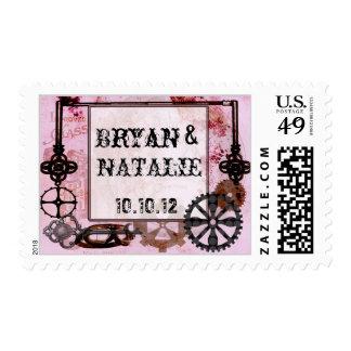Steampunk en rosa y negro azabache del punky timbre postal