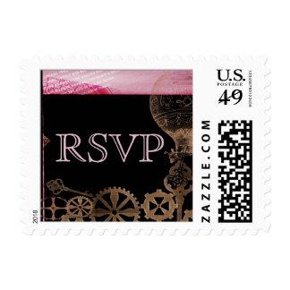 Steampunk en rosa y negro azabache del punky timbres postales