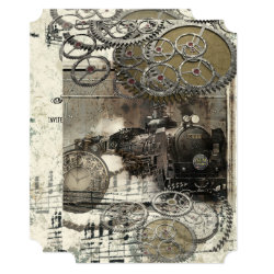 Steampunk Engine Gears Wedding Invitation