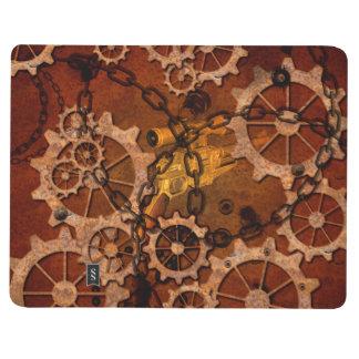 Steampunk, engranajes en metal oxidado cuaderno grapado
