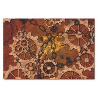 Steampunk, engranajes en metal oxidado papel de seda pequeño
