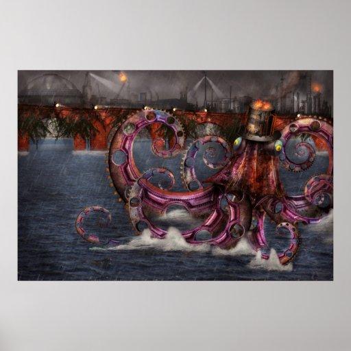 Steampunk - Enteroctopus magnificus roboticus Poster