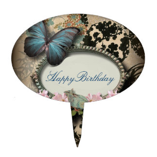 steampunk Ephemera floral Butterfly victorian Cake Topper