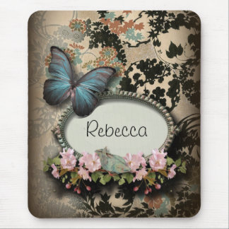 steampunk Ephemera floral Butterfly victorian Mouse Pad