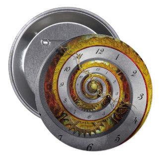Steampunk - espiral - tiempo infinito pin redondo de 3 pulgadas
